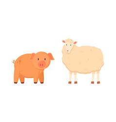 Pig and sheep domestic animals farming set vector