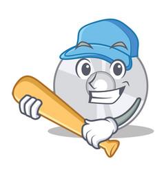 Playing baseball cd character cartoon style vector