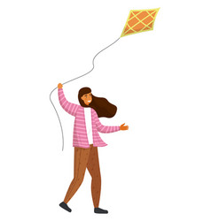 Playing pretty girl with kite isolated at white vector