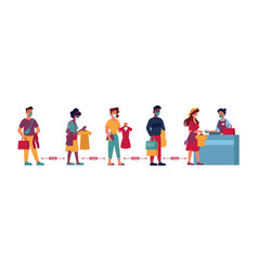 queue in clothing store people social distance vector image