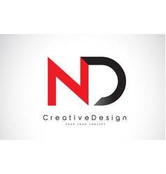 Red and black nd n d letter logo design creative vector