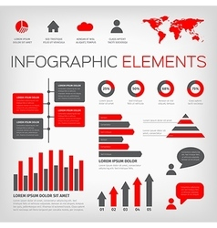 Red and gray colour infographics vector