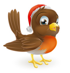 robin bird in a santa hat vector image