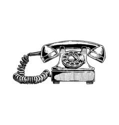 Rotary dial telephone 1940s vector
