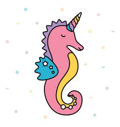 seahorse unicorn pastel colorful cute creature vector image