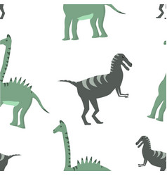 seamless pattern dinosaurs on white background vector image