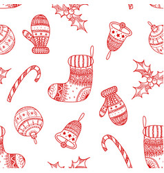 seamless pattern of red christmas symbols vector image