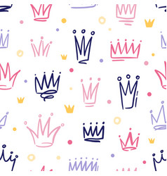 Seamless pattern with cute doodle queen vector