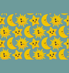 Seamless pattern with cute smiling sun vector