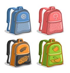 Set colorful kids backpacks vector