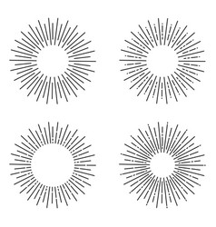 Set linear sun rays painted in vintage style vector