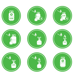 set of camping stove and gas bottle icons vector image