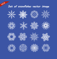 set of snowflake image white isolated icon vector image