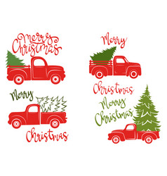Set red pickups with christmas tree vector