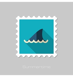 Shark fin flat stamp summer vacation vector