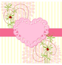Springtime Love Card with Flower vector