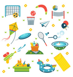 Summer holiday activity symbols set vector
