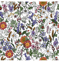 Summer wildflowers seamless vector