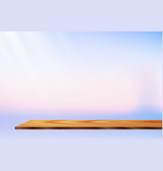 Sunrise glitter wooden shelf vector