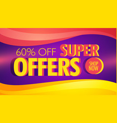 Super offer advertising banner template with vector