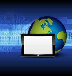 tablet computer and globe on digital background vector image