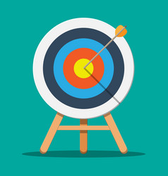 Target on wooden tripod with arrow in cente vector