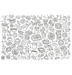 Tea time doodles hand drawn sketchy symbols vector image