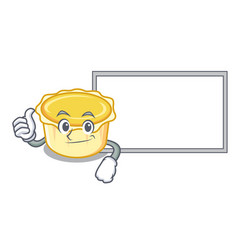 Thumbs up with board egg tart character cartoon vector