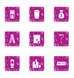 Trimming icons set grunge style vector
