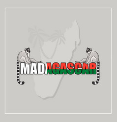 two lemurs and word madagascar vector image