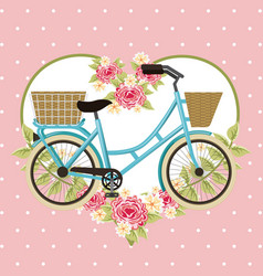 vintage bike basket flowers heart decoration vector image