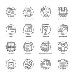 web development line icons 5 vector image