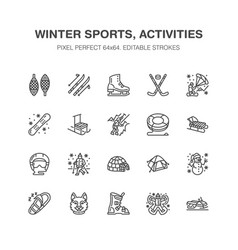 winter sports flat line icons outdoor vector image