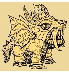 hand draw of dragon in zentangle style vector image