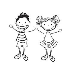hand drawn boy and girl vector image