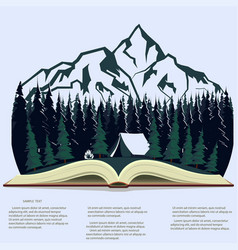 nature in opened book camping graphics outdoor vector image vector image