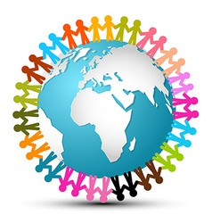 People Holding Hands Around Globe - Earth vector image vector image