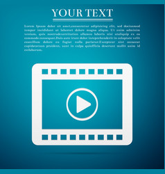 play video flat icon on blue background vector image