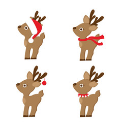set of christmas reindeer vector image