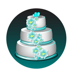wedding cake with flowers vector image