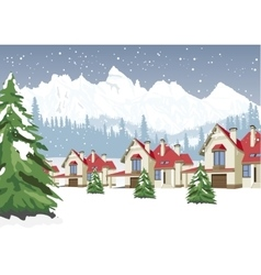 winter scenery with mountain ski resort vector image vector image