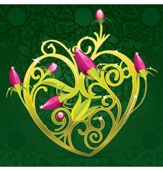 floral golden heart vector image vector image