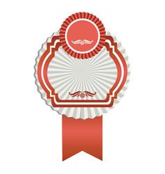 fuchsia emblem with ribbon decoration icon vector image