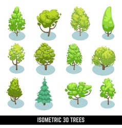 Isometric 3D trees landscape elements set vector image
