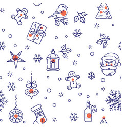 seamless pattern with new year elements vector image vector image