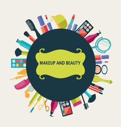 set of makeup and beauty elements pattern vector image