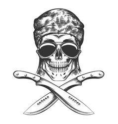 skull with machete vector image