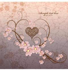 Vintage ornamental frame heart on grunge vector image