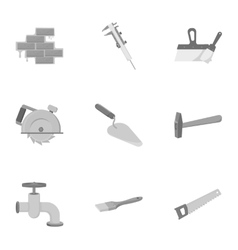 Build and repair set icons in monochrome style vector