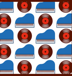 classic piano and vinyl seamless pattern image vector image